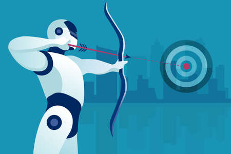 Vector of a robot aiming at the target. Concept of future automation and technology development
