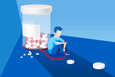 Vector of a sick man with painkiller addiction chained to the bottle of pills Illustration