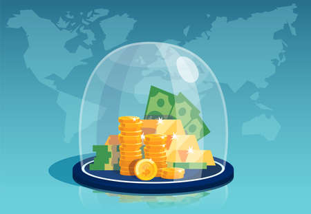 Vector of dollar banknotes and gold coins under a glass dome on a world map background  Stock Illustratie