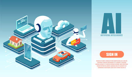 Vector of a robot artificial intelligence controlling modern technology laptop, car, smartphone, home