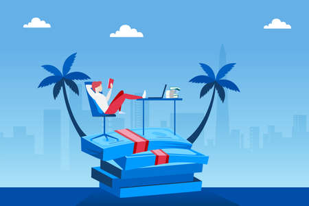 Vector of a wealthy man relaxing on a pile of money having a dream job from home Stock Illustratie