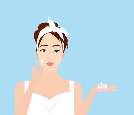 Vector of a beautiful woman applying cream on her face taking care of her skin