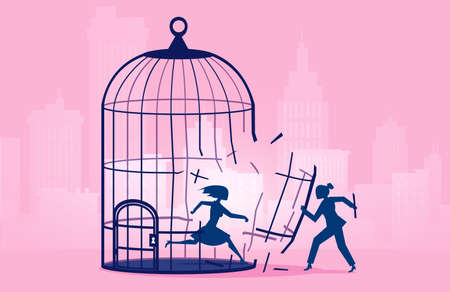 Vector of a woman escaping birdcage being helped by businesswoman Иллюстрация