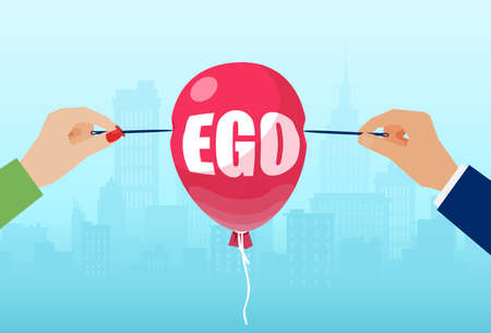 Vector of male and female hands with needles to burst a balloon with word ego.  矢量图像