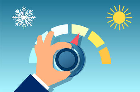 Vector of a hand rotating the thermostat. Illustration of an climate control regulator.