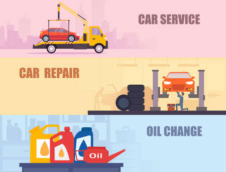 Vector set of an auto repair, service shop and road assistance Иллюстрация