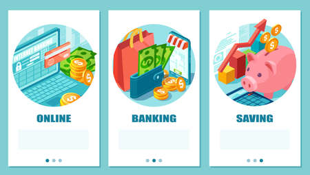 Isometric vector set of online banking, shopping and saving concept  Иллюстрация