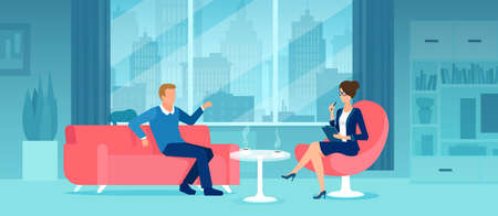 Vector of a businessman sitting on a sofa having a discussion business meeting with a businesswoman or secretary in his office