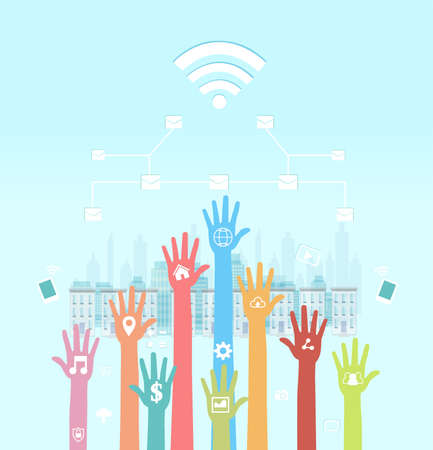 Global communications concept. Vector of human hands with social media icons using mobile devices and internet networking