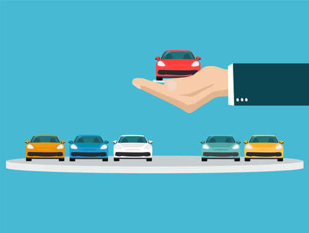 Vector of a hand holding a new car making a choice