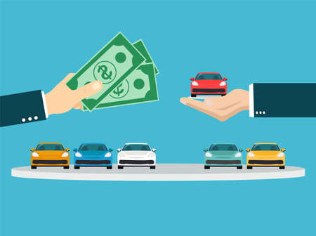 Buying new car concept. Vector of a businessman hand exchanging a new car for money