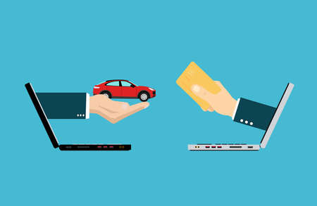 Vector of two hands coming out from laptops exchanging money for a car