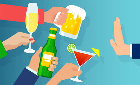 No alcohol concept. Vector of a man rejecting offered alcohol glass of wine, beer or cocktail