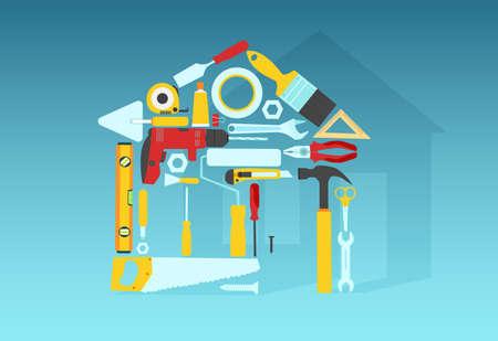 Vector of home repair tools shaped as a house  Иллюстрация