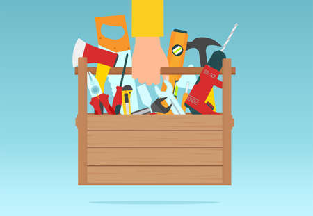 Vector of a repair man holding toolbox, set of instrument for construction and building
