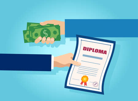 Vector of one hand offering money in exchange for a college diploma
