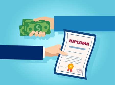 Vector van één hand die geld aanbiedt in ruil voor een universiteitsdiploma Vector Illustratie