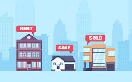 Real estate concept. Vector of apartments, business offices and houses on sale, being rented or sold.