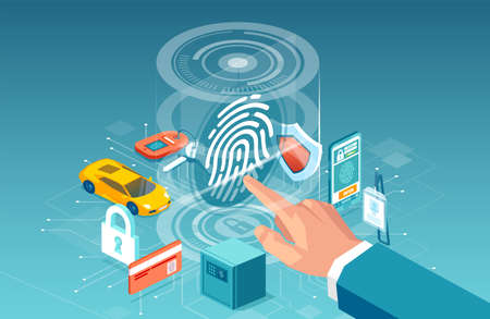 Biometric access finger print control concept. Vector of a businessman using digital touch scan identification system to gain access