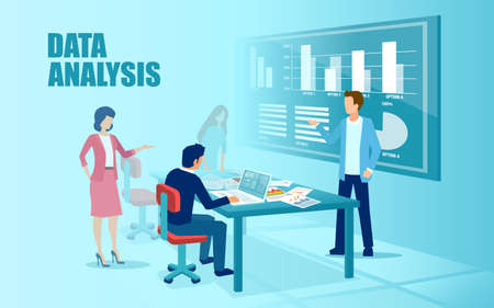 Vector of a business team managing new financial project and analyzing data in office