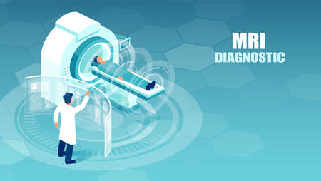 Vector of a doctor conducting magnetic resonance imaging studies on a patient at a hospital. Иллюстрация