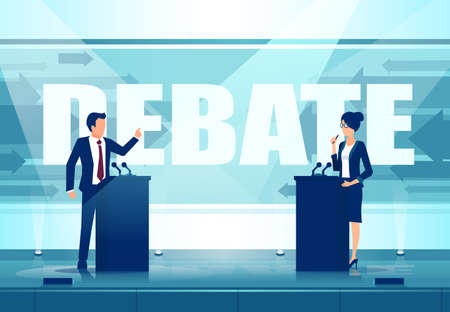 Vector of a two political leaders having an open debate on stage