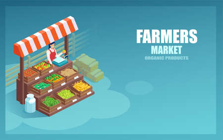 Vector of a market farmer selling local vegetables and produce on her stall  Иллюстрация
