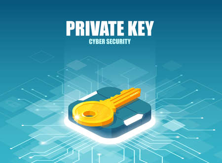 Cyber security and private key in global digital technologies concept.