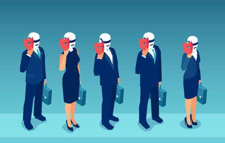 Vector of robot candidates replacing humans hiding behind masks Illustration