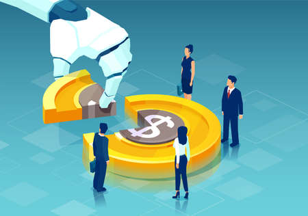 Vector of a robot hand taking piece of dollar coin cain from business people