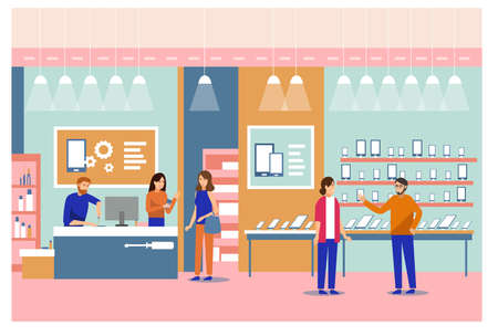 Vector of people shopping in a smart phone store being assisted by professional team of men and women