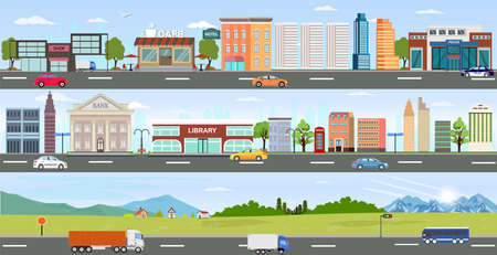 Vector of urban landscape with modern buildings and suburb background with mountains and hills, streets, highways and passing by cars.