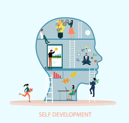 Self development concept. Vector of a group of creative people working hard on self improvement and climbing ladder of success.  Illustration