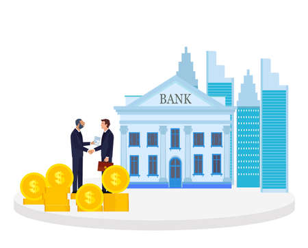 Vector of two business men shaking hands having a deal on a bank building background Иллюстрация