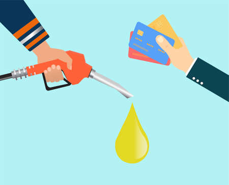 Vector of a hand with credit cards and a second hand holding fueling gas nozzle