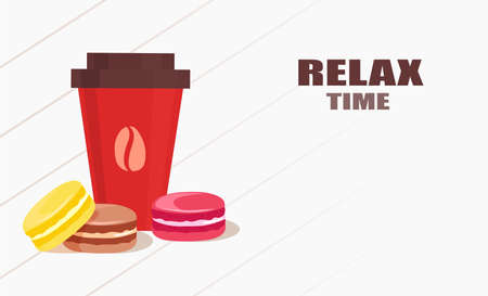 Vector of a cup of coffee and colorful macaroons.