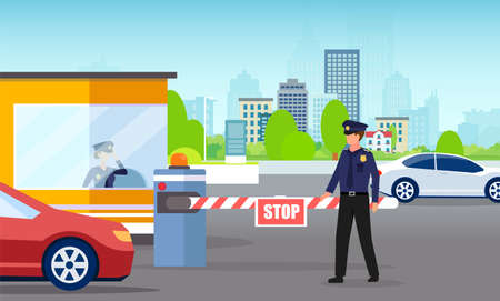 Vector of a security man and gate checking cars passing to company office parking lot
