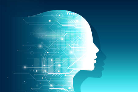 Vector silhouette of a female human head made of circuit computer board pattern