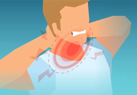 Vector of a young man with painful neck, muscle strain