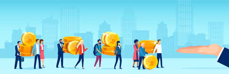 Vector of diverse people caring giving away coins money to a big business man