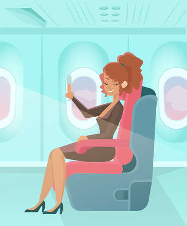 Vector of a happy passenger woman sitting in a comfortable chair and drinking champagne in business class