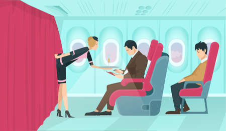 Vector of a flight attendant serving drinks to a first class passenger sitting on a comfortable armchair with economy class guy squeezed behind on board of the aircraft.  Иллюстрация