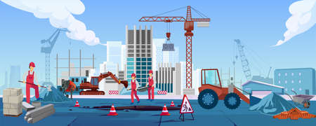 Vector of a construction site with workers building a new residential or office skyscraper.