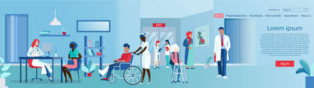 Vector of multicultural patients standing in hospital hall with doctors and nurses assiting and giving consultation  Иллюстрация