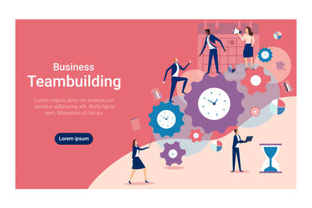 Vector of a business team building a successful company, managing time efficiently  Иллюстрация