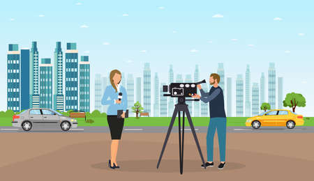 Vector of a journalist woman and camera man making a reportage on a cityskape background