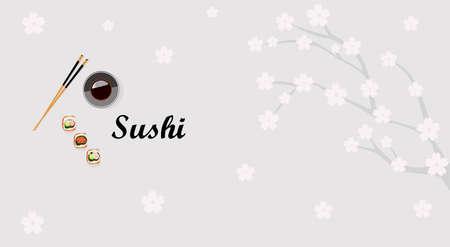 Vector design of the sushi restaurant invitation banner