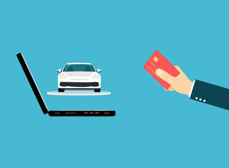 Vector of a man paying for a new car online using credit card