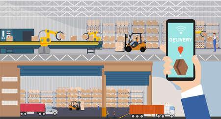Vecteur d'un entrepôt et d'un quai de chargement automatisé géré via une application sur un smartphone