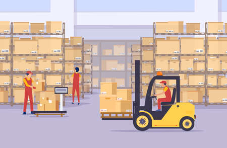 Vector of a warehouse with boxes and employees managing goods